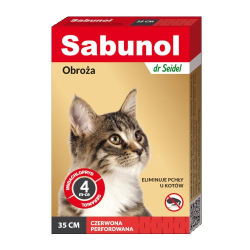 Obroża Sabunol dla kota 35cm CZERWONA